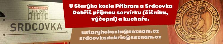 U Starýho kozla Příbram a Srdcovka Dobříš přijmou servírku (číšníka,  výčepní) a kuchaře.