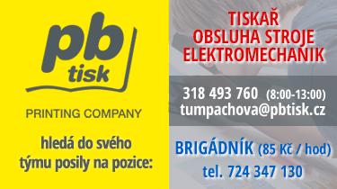 PBtisk a.s hledá do svého týmu posily na pozice: TISKAŘ, OBSLUHA STROJE, ELEKTROMECHANIK